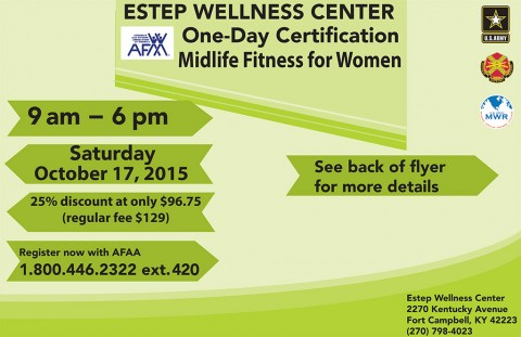Fort Campbell MWR announces AFAA Midlife Fitness for Women Certification Workshop