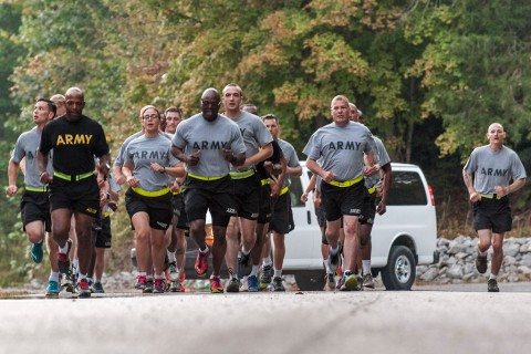 Soldiers from the 101st Combat Aviation Brigade, 101st Airborne Division (Air Assault), participate in the first value-of-life run at Fort Campbell, Ky., Sept. 22, 2015. The run was held as part of suicide prevention month to convey to participants how Soldiers' views of themselves can affect the all aspects of a Soldier's life. (Sgt. Duncan Brennan, 101st CAB Public Affairs)