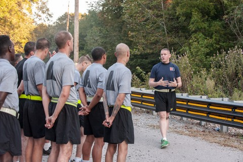 Sgt. 1st Class Gary Jager, the sexual assault response coordinator for the 101st Combat Aviation Brigade, 101st Airborne Division (Air Assault), briefs Soldiers during the first value-of-life run at Fort Campbell, Ky., Sept. 22, 2015. The run was held as part of suicide-prevention month to convey to participants how Soldiers' views of themselves can affect the Army. (Sgt. Duncan Brennan, 101st CAB Public Affairs)