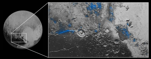 Water Ice on Pluto: Regions with exposed water ice are highlighted in blue in this composite image from New Horizons' Ralph instrument, combining visible imagery from the Multispectral Visible Imaging Camera (MVIC) with infrared spectroscopy from the Linear Etalon Imaging Spectral Array (LEISA). The strongest signatures of water ice occur along Virgil Fossa, just west of Elliot crater on the left side of the inset image, and also in Viking Terra near the top of the frame. (NASA/JHUAPL/SwRI)
