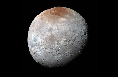 Charon in Enhanced Color NASA's New Horizons captured this high-resolution enhanced color view of Charon just before closest approach on July 14, 2015. The image combines blue, red and infrared images taken by the spacecraft's Ralph/Multispectral Visual Imaging Camera (MVIC); the colors are processed to best highlight the variation of surface properties across Charon. (NASA/JHUAPL/SwRI)