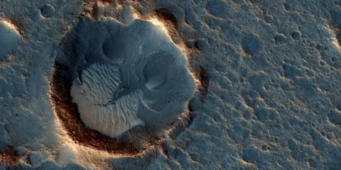 """This May 2015 image from the HiRISE camera on NASA's Mars Reconnaissance Orbiter shows a location on Mars associated with the best-selling novel and Hollywood movie, """"The Martian."""" (NASA/JPL-Caltech/Univ. of Arizona)"""