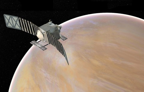 Artist's concept of the Venus Emissivity, Radio Science, InSAR, Topography, and Spectroscopy (Veritas) spacecraft, a proposed mission for NASA's Discovery program. (NASA/JPL-Caltech)