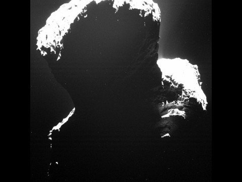 Image of the southern polar regions of comet 67P/Churyumov-Gerasimenkotaken was taken by Rosetta's Optical, Spectroscopic, and Infrared Remote Imaging System (OSIRIS) on September 29, 2014, when the comet was still xperiencing the long southern winter. (ESA/Rosetta/MPS for OSIRIS Team)