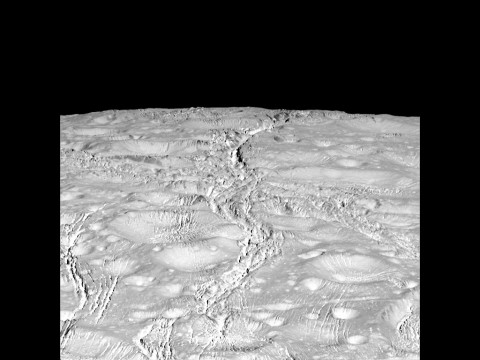 NASA's Cassini spacecraft zoomed by Saturn's icy moon Enceladus on Oct. 14, 2015, capturing this stunning image of the moon's north pole. A companion view from the wide-angle camera (PIA20010) shows a zoomed out view of the same region for context. (NASA/JPL-Caltech/Space Science Institute)