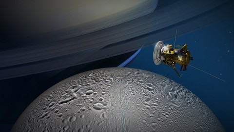 NASA's Cassini spacecraft will get its best-ever look at the northernmost reaches of the Saturnian moon Enceladus on October 14th. (NASA/JPL-Caltech)