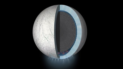 This daring flyby will bring the Cassini spacecraft within 30 miles (48 kilometers) of Enceladus' south pole. (NASA/JPL-Caltech)