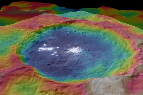 This view, made using images taken by NASA's Dawn spacecraft, is a color-coded topographic map of Occator crater on Ceres. (NASA/JPL-Caltech/UCLA/MPS/DLR/IDA)