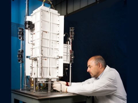 An engineering test unit for a Stirling generator being tested at NASA's Glenn Research Center in Cleveland, Ohio. (NASA)