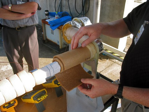 GFT LLC's highly flexible polyimide foam—seen here during testing at NASA's Kennedy Space Center in Florida—provides an ideal insulation for pipes in cryogenic and other industrial and marine applications. (GFT LLC)