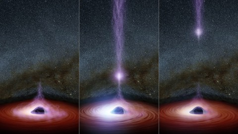 This diagram shows how a shifting feature, called a corona, can create a flare of X-rays around a black hole. (NASA/JPL-Caltech)