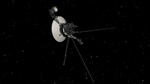 This artist's concept shows NASA's Voyager spacecraft against a backdrop of stars. (NASA/JPL-Caltech)