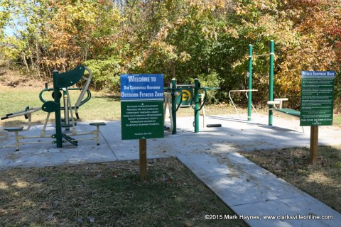 Outdoor Fitness Gym at the Mary's Oak Trailhead of the Clarksville Greenway.