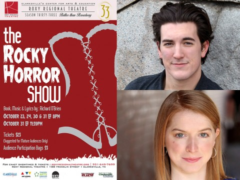 "Timothy Houston (top) and Lindsay Nantz star as Brad Majors and his fiancée Janet Weiss in the Roxy Regional Theatres production of ""The Rocky Horror Show""."