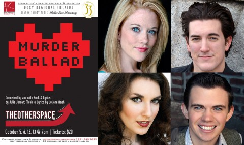 """""""Murder Ballad"""" at the Roxy stars clockwise from top left: Alicia Jayne Kelly, Timothy Houston, Rori Nogee, and Ryan Bowie."""