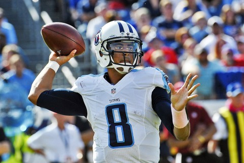 Tennessee Titans quarterback Marcus Mariota (8) passes against the Buffalo Bills during the second half at Nissan Stadium on October 11th, 2015. Buffalo won 14-13. (Jim Brown-USA TODAY Sports)