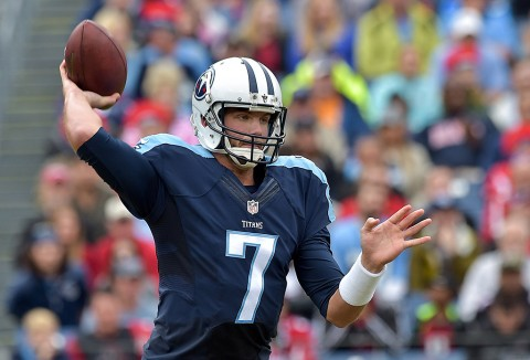 Tennessee Titans quarterback Zach Mettenberger (7) passes against the Atlanta Falcons during the first half at Nissan Stadium. (Jim Brown-USA TODAY Sports)