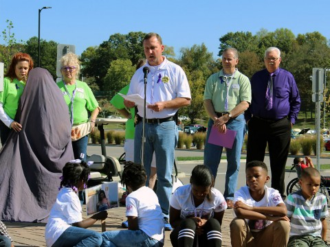 Montgomery County Sheriff John Fuson speaks at the 14th Annual Domestic Violence Awareness event held Saturday, October 10th, 2015.