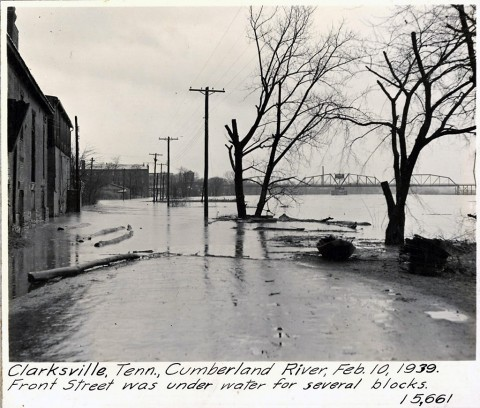 Clarksville, Tennessee, Cumberland River, February 10th, 1939. Front Street was under water for several blocks. (Courtesy Asset)