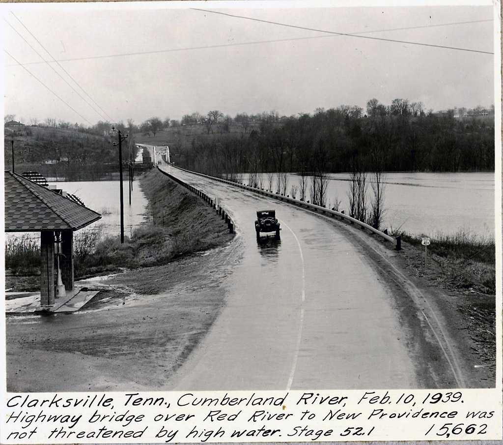 Clarksville tennessee cumberland river february 10th 1939 clarksville tennessee cumberland river february 10th 1939 highway bridge over red river to new providence was not threatened by high water stage 531 sciox Image collections