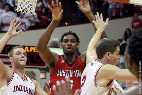 Despite attracting a crowd inside, Austin Peay senior center Chris Horton recorded his 37th double-double vs. Indiana, Monday. (APSU Sports Information)