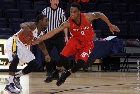 Austin Peay junior point guard Terrell Thompson played a significant role in the Govs' second-half defensive effort against Northern Colorado. (APSU Sports Information)