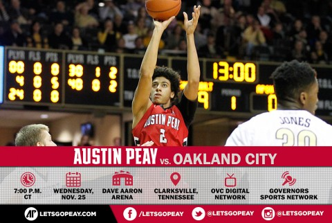 Austin Peay Men's Basketball return to the Dunn Center Wednesday to face Oakland City. (APSU Sports Information)