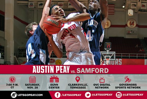 Austin Peay Men's Basketball takes on Samford at the Dunn Center Saturday. (APSU Sports Information)