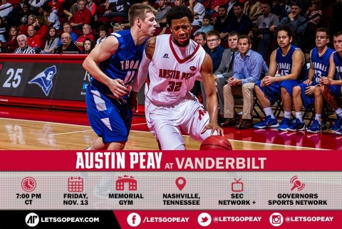 Austin Peay Men's Basketball at Vanderbilt Friday. (APSU Sports Information)