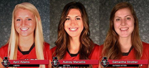 Austin Peay to recognize seniors April Adams, Aubrey Marsellis and Samantha Strother at Saturday's game against UT Martin. (APSU Sports Information)