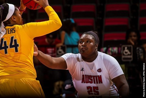 Austin Peay Women's Basketball's Tearra Banks has 18 points and 10 rebounds in 77-56 loss against Wright State Saturday afternoon. (APSU Sports Information)
