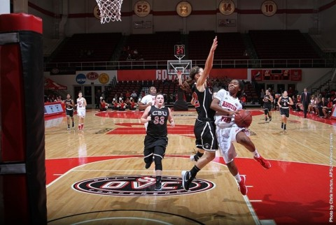Austin Peay Womens Basketball Senior guard Tiasha Gray finished the game with 14 points, 5 assists and moved past Ashley Haynes (2002-06) for fourth place on APSU's career assists list with 389 career helpers. (APSU Sports Information)