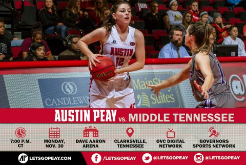 Austin Peay Women's Basketball hosts Middle Tennessee Monday. (APSU Sports Information)