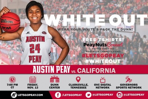 Austin Peay Women's Basketball hosts California Friday. (APSU Sports Information)