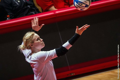 Austin Peay Volleyball's Sammie Ebright had 16 kills and 14 digs in win over UT Martin Saturday. (APSU Sports Information)