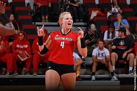 Austin Peay Volleyball's Sammie Ebright had 15 kills, 17 digs in win over Eastern Kentucky. (APSU Spoorts Information)