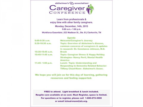 Alzheimer's Association to host Caregiver Conference at Workforce Essentials on Monday, December 14th