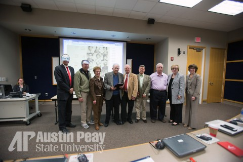 Dr. Solie Fott and other former members of faculty senate are honered for the 40th anniversary of the founding of faculty senate on Thursday, Nov. 19, 2015 at Austin Peay State University. (Cassidy Graves, APSU)