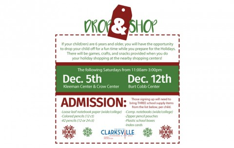 Clarksville Parks and Recreation to host Drop and Shop' holiday events