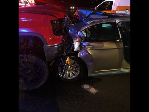 2014 GMC Sierra pickup truck runs into a 2012 Chrysler Sebring from behind, killing one person. (Sgt Mike Caver)