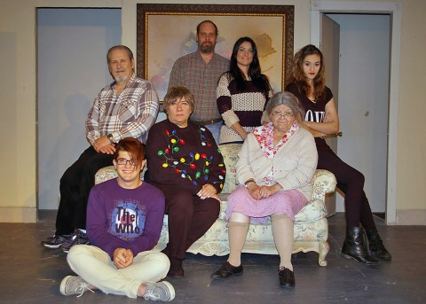 "Cast of ""One Christmas Night"" - (L to R) Front: Jabe Buhmeier, Jan Dial, Linda Ellis Cunningham. Back Row: Jeff Wellington, Benny Jones, Jamie Figueroa and Katelynn Gregory."