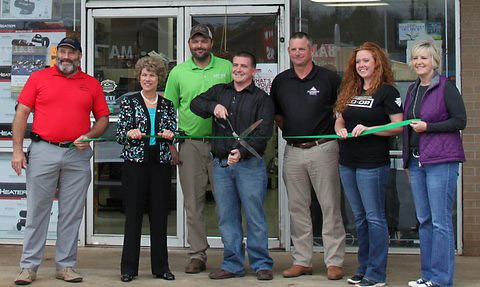 (L to R) Daryl Pater, CMC Green Certification Steering Committee Member; Mayor McMillan; Keith Earhart; Josh Briggs, Mayor Durrett, Ashley Stokes, Montgomery Co-Op Marketing Director and Melinda Shepard.