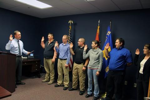 Montgomery County Sheriff John Fuson swears in the new Deputies.