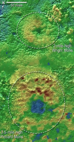 Using New Horizons images of Pluto's surface to make 3-D topographic maps, scientists discovered that two of Pluto's mountains, informally named Wright Mons and Piccard Mons, could be ice volcanoes. The color depicts changes in elevation, blue indicating lower terrain and brown showing higher elevation. Green terrains are at intermediate heights. (NASA/JHUAPL/SwRI)
