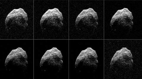 Asteroid 2015 TB145 is depicted in eight individual radar images collected on Oct. 31, 2015 between 5:55 a.m. PDT (8:55 a.m. EDT) and 6:08 a.m. PDT (9:08 a.m. EDT). (NASA/JPL-Caltech/GSSR/NRAO/AUI/NSF)