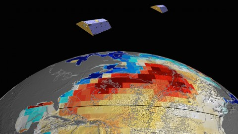 NASA's GRACE satellites (artist's concept) measured Atlantic Ocean bottom pressure as an indicator of deep ocean current speed. In 2009, this pattern of above-average (blue) and below-average (red) seafloor pressure revealed a temporary slowing of the deep currents. (NASA/JPL-Caltech)