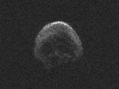 This image of asteroid 2015 TB145, a dead comet, was generated using radar data collected by the National Science Foundation's 1,000-foot (305-meter) Arecibo Observatory in Puerto Rico. The radar image was taken on Oct. 30, 2015, and the image resolution is 25 feet (7.5 meters) per pixel. (NAIC-Arecibo/NSF)