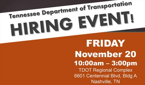 Tennessee Department of Transportation to hold Hiring Event November 20th