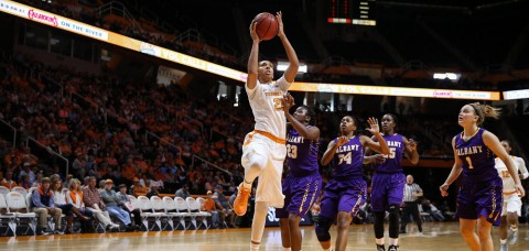 Mercedes Russell #21 of the Tennessee Lady Volunteers during the game between the Albany Great Danes and the Tennessee Lady Volunteers at Thompson-Boling Arena in Knoxville, TN. (Donald Page/Tennessee Athletics)