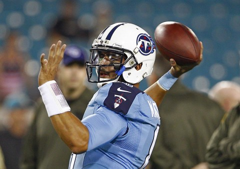 Tennessee Titans quarterback Marcus Mariota (8) on the field before the start of a football game against the Jacksonville Jaguars at EverBank Field. (Reinhold Matay-USA TODAY Sports)